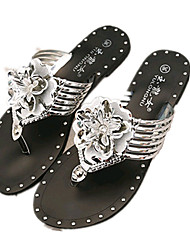 Women's Shoes PU Flat Heel Slippers Sandals / Slippers Outdoor / Dress / Casual Silver / Gold