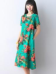 Women's Vintage Floral Loose Dress,Round Neck Knee-length Polyester