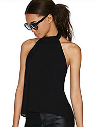 Women's Solid Black Blouse,Halter Sleeveless
