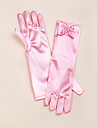 Opera Length Fingertips Glove Satin Flower Girl Gloves Spring Summer Fall Winter Bow
