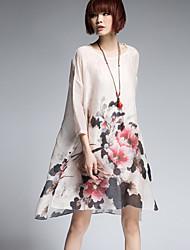 Women's Vintage Floral Loose Dress,Round Neck Asymmetrical Silk / Linen