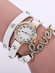 Lady's Flower Leather Band Analog Quartz Bracelet Wrist  Watch for Party