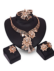 XIXI New Products 18k Gold  Jewelry Flowers Romantic  Necklace Jewelry Sets For Bridal Bijoux