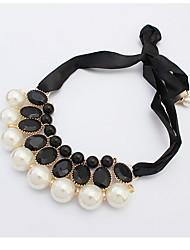 Vintage 2016 Imitation Pearl Choker Collar Rhinestone Chain Statement Necklaces Pendants Women Jewelry Gifts