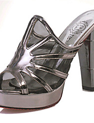 Women's Shoes PU Chunky Heel Slippers Sandals / Slippers Outdoor / Dress / Casual Silver / Gray
