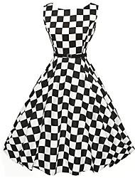 Damen Kleid-A-Linie / Skater Retro Schachbrett Knielang Polyester Rundhalsausschnitt