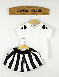 Girl's White Clothing Set,Striped Rayon Summer