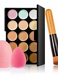 15 couleurs crème pour le visage de contour maquillage anticernes palette + éponge houppette brosse pour la fondation anticernes blusher