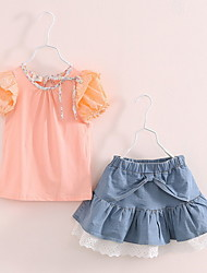 BK (2PCS)Puff Girls T-shirt +Lace Denim Skirt Suit Kids Clothing Set