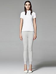 ZigZag® Feminino Colarinho Chinês Manga Curta Camisa Branco - 11437