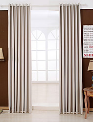 Two Panels Modern Solid Beige Bedroom Rayon Blackout Curtains Drapes