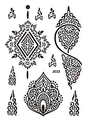 8PCS Waterproof Body Art Women Brown Henna Jewel Sexy Lace Flower Temporary Tattoo Stickers Chic