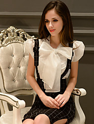 Women's Solid White Blouse,Bow Short Sleeve