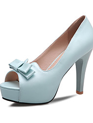 Women's Shoes Leatherette Heels / Peep Toe Wedding / Party & Evening Stiletto Heel Bowknot Blue / Pink / White