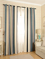 Two Panel European Contracted And Contemporary Style Vertical Stripes Chenille Sitting Room Dining-Room Bedroom Curtains