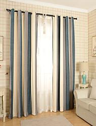 Deux Panneaux Moderne Rayure Bleu / Gris Chambre à coucher Mélange Poly/Coton Panneau Rideaux rideaux