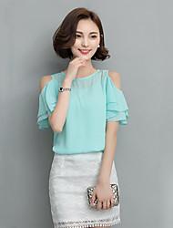 Women's Solid Red / White / Black Blouse,Off Shoulder Short Sleeve