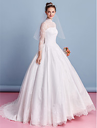 A-line Wedding Dress Floor-length High Neck Lace with Lace