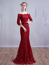 Formal Evening Dress-Burgundy Trumpet/Mermaid Off-the-shoulder Sweep/Brush Train Lace