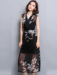 Women's Sexy / Vintage Print Sheath Dress,V Neck Midi Silk