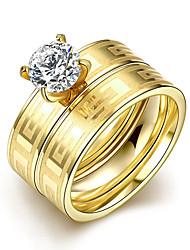 Ringe,Stahl Kubikzirkonia Runde Form Modisch Hochzeit / Party / Alltag / Normal Schmuck Damen Eheringe 1 Set Goldfarben
