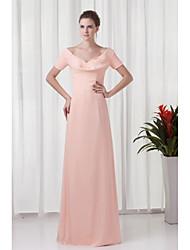 Formal Evening Dress Sheath / Column V-neck Floor-length Chiffon with Ruching