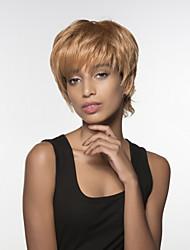 mão do cabelo remy mulher jovem curta ondulado humano virgem amarrada peruca topo