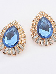 Charms Simulated Gem Blue and Green Drops Pierced Stud Earrings For Women