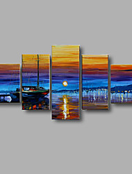 ручная роспись декорации осени стены искусства декора дома толщиной картины маслом на холсте 5pcs / комплект с натянутой рамы