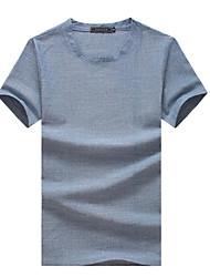 Herren T-shirt-Einfarbig Freizeit / Sport / Übergröße Baumwolle Kurz-Blau / Gelb / Grau