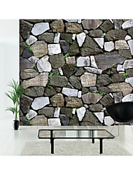 HaokHome® Vintage Faux Stone Grass Textured Wallpaper Grey/Green 3D Brick Realistic Paper Room Decoration Wall Covering