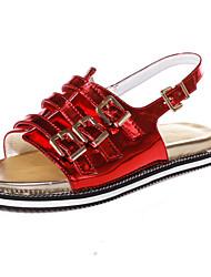 Zapatos de mujer-Plataforma-Punta Abierta-Pantuflas-Vestido-Semicuero-Rojo / Plata