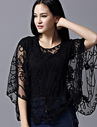 Women's Print Patchwork Embroidered Grenadine Loose Blouse,Round Neck ¾ Sleeve
