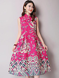 Women's Going out Vintage A Line Dress,Print Stand Midi Sleeveless Blue / Pink / Red Linen Summer