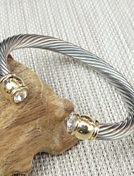 Crystal Inlay Clasp Stainless Steel Cable Wire Cuff Bangle