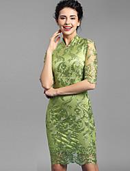 Baoyan® Femme Mao Manches 1/2 Au dessus des genoux Robes-160111