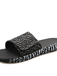 Men's Slippers Casual/Beach/Home Fashion Tulle Leather Slip-on Shoes Slide Sandals Black/Gray/Bule 39-44