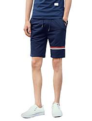 Masculino Shorts Masculino Listrado Casual / Tamanhos Grandes Algodão / Poliéster