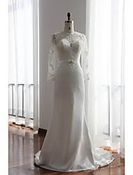 Trumpet / Mermaid Wedding Dress Court Train Jewel Chiffon / Lace with Appliques / Button / Lace / Sash / Ribbon