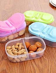 1pcs superposés contenant des céréales alimentaires de cuisine grain bean réfrigérateur de rangement en plastique à double ouverte