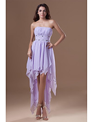 A-Line Strapless Asymmetrical Chiffon Cocktail Party Prom Dress with Beading Draping