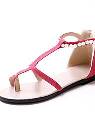 Zapatos de mujer-Tacón Plano-Comfort-Sandalias-Oficina y Trabajo / Casual / Fiesta y Noche-Semicuero-Negro / Rojo