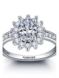 Promesse personnalisée 925 sterling silver cz stone wedding party ring for women