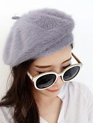 Fashion Pure Color Rabbit Fur Beret Princess Female Models Hat