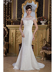 Trumpet / Mermaid Wedding Dress Court Train Jewel Lace / Satin with Lace