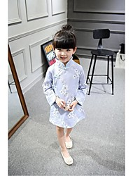 Kid Princess Series Costumes Long Sleeve Cute and Cuddly Costumes Dress Cheongsam Blue