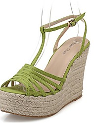 Women's Shoes Suede Wedge Heel Wedges Sandals Dress / Casual Black / Green / Silver