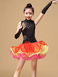 Latin Dance Dresses Children's Performance Tulle Draped 3 Pieces Dress / GlovesDress length S:57cm / M:60cm / L:63cm / XL:66cm / XXL:69cm