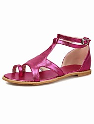 Women's Shoes Silk Flat Heel Toe Ring / T-Strap / Comfort / Ankle Strap / Open Toe Sandals Outdoor Blue / Red / Silver