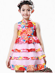 Girl's Blue / Red / Yellow Dress,Floral Polyester Summer